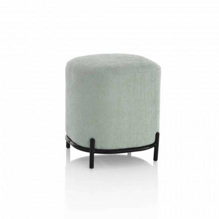Puf rotund pentru camera de zi în țesătură verde sau gri Design modern - Ambrogia