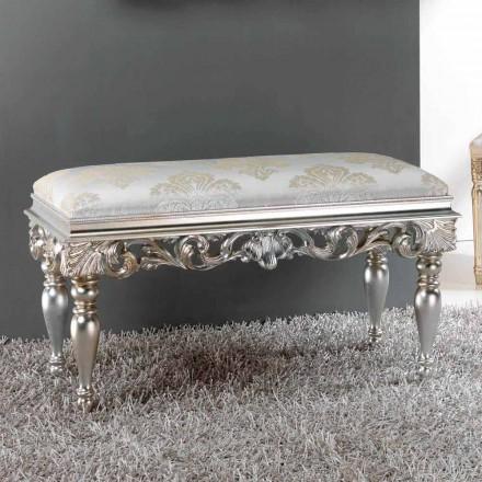 Pouf noptieră design clasic, cu finisaj argintiu Zorn
