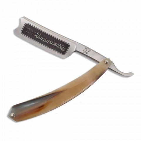 Aparat de ras pentru barbă cu mână liberă din oțel și corn de bou Fabricat în Italia - Mello