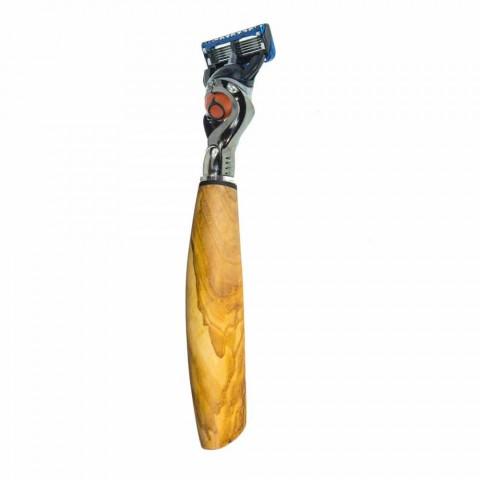 Aparat de ras pentru bărbierit cu cap realizat manual în corn sau lemn fabricat în Italia - Rabio