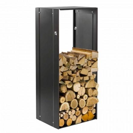 Suport drept pentru lemn de foc cu design drept pentru șemineu interior din oțel negru - Solano