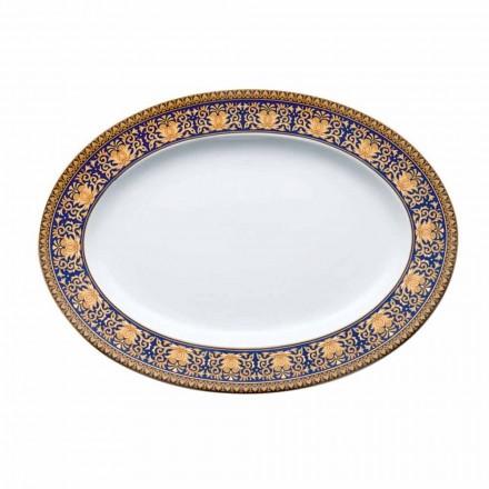 Rosenthal Versace Medusa oval albastru fel de mâncare de design porțelan