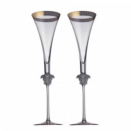 Rosenthal Versace Medusa D'Or 4 cesti flaut în design de cristal