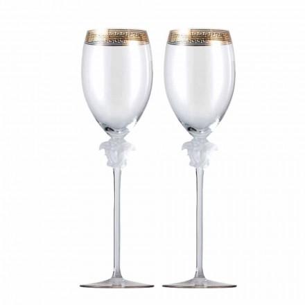 Rosenthal Versace Medusa D'Or 4 cupe de sticlă de vin alb