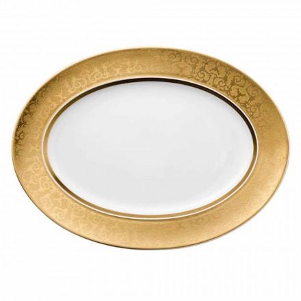 Rosenthal Versace Medusa Gala de aur 40cm porțelan Design placă ovală
