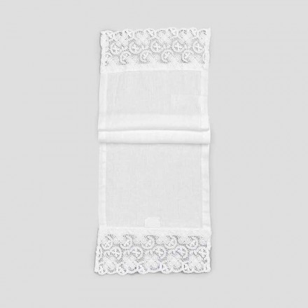 2 Table Runner 100% in cu dantelă albă de lux Made in Italy - Trionfo