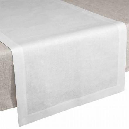 Runner de masă în in alb crem 50x150 cm Fabricat în Italia - Mac