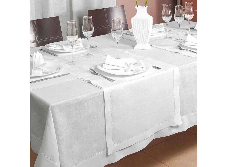 Runner de masă în lenjerie albă crem pură Made in Italy - Chiana