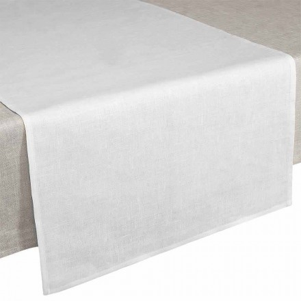 Runner de masă 50x150 cm în lenjerie alb pur crem Made in Italy - Blessy
