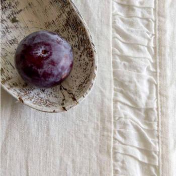 Alergare naturală de lenjerie grea albă cu relief de lux italian - Limao