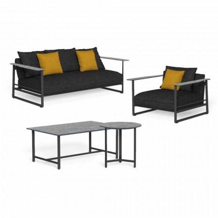 Lounge de grădină de lux din aluminiu, gresie și țesături - Riviera by Talenti