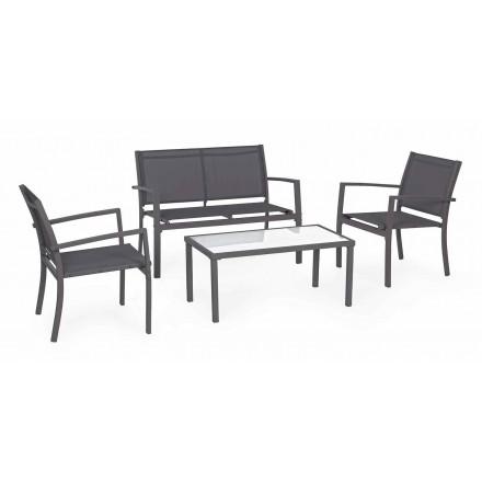 Lounge de grădină din oțel și textilen, canapea, fotolii și masă de cafea - Osseo