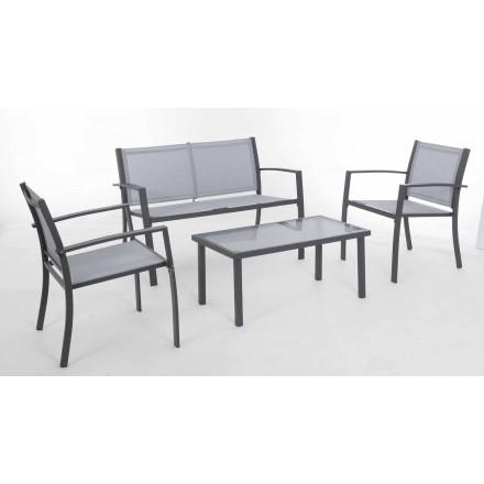 Lounge de grădină din oțel alb sau gri și textilen de design - schelet