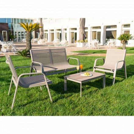 Lounge de grădină din aluminiu, pânză și HPL prețios fabricat în Italia - Atollo