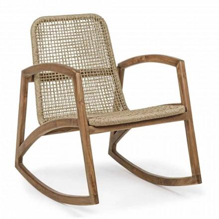 Scaun balansoar în aer liber din lemn de tec și țesut cu fibre sintetice - Tosca
