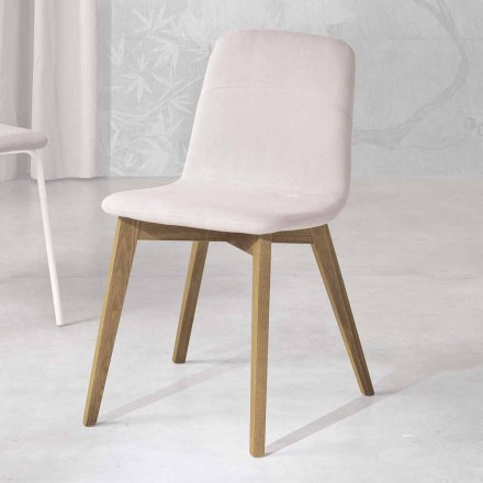 Design scaun din lemn și țesături pentru bucătărie făcut în Italia, Egizia