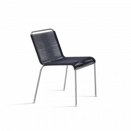 Scaun pentru design exterior în oțel și șnur negru fabricat în Italia - Madagascar1