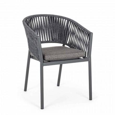 Scaun de exterior stivuibil cu scaun din material, Homemotion 4 bucăți - Aleandro