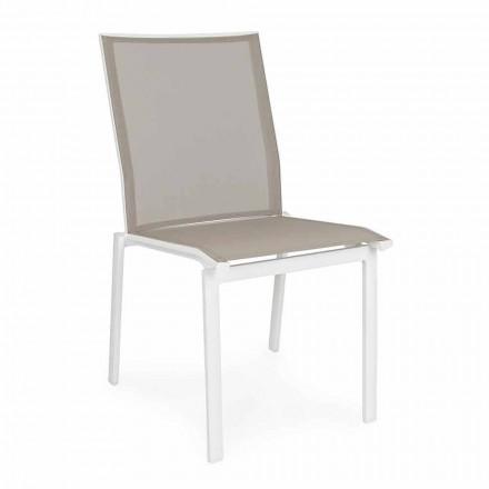 Scaun de exterior stivuibil din aluminiu și textilenă, Homemotion 4 bucăți - Serge