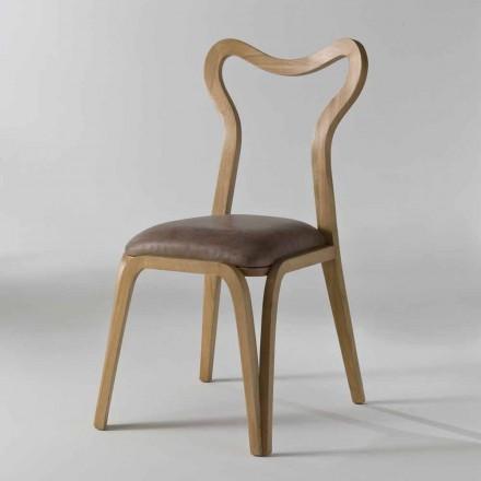 scaun de luat masa din lemn și piele design modern, l.41xp.46 cm, Carol