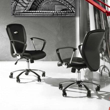 Scaun de birou cu roti rotative din piele ecologică și metal - Amarilda