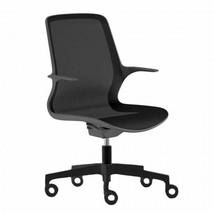 Scaun de birou cu roți pivotante în plasă neagră și nylon negru - Ayumu