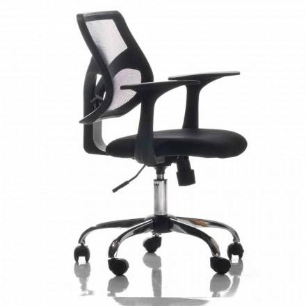 Scaun de birou cu roti rotative, negru și țesătură - Giovanna