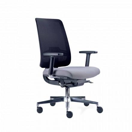 Scaun de birou cu roți pivotante în negru și țesătură Tecnorete - Menaleo