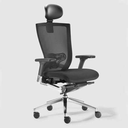 Scaun de birou ergonomic cu roți din piele și faux - Takeshi