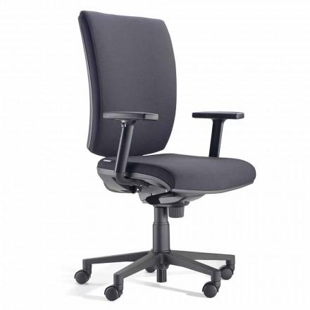 Scaun de birou rotativ ergonomic cu cotiere din țesătură neagră - Macrino