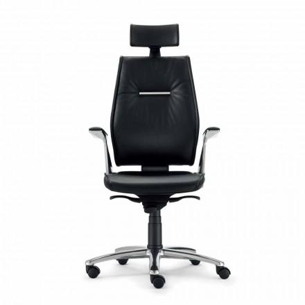 scaun de birou ergonomic tip piele de vacă din piele de cereale Ines