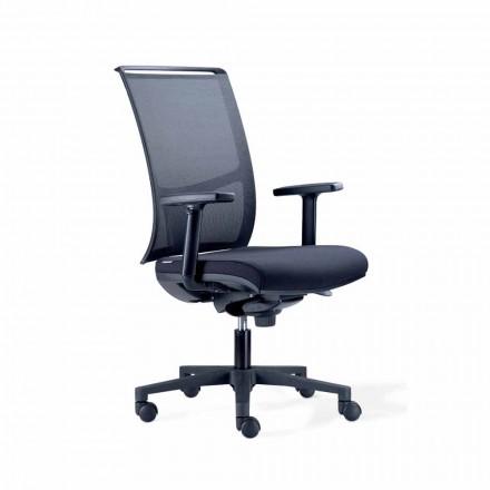 Scaun de birou semi-direcțional în tehnorete și țesătură neagră - Vespasiano