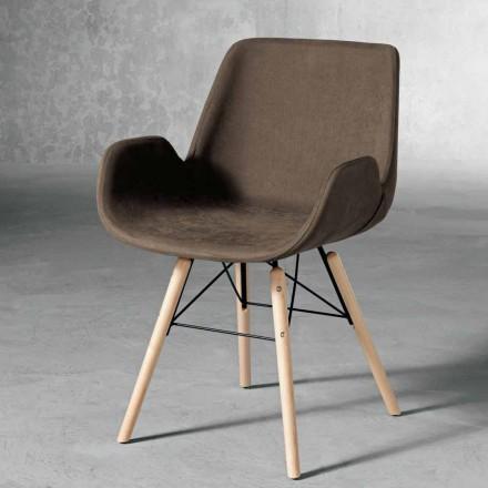 Design scaun din lemn și țesături fabricate în Italia Ornica