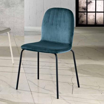 Design scaun în catifea și picioare tubulare făcute în Italia, Carola