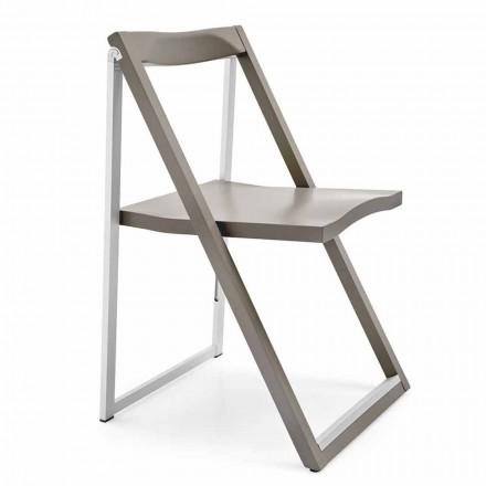 Scaun pliant de design din aluminiu și lemn de fag fabricat în Italia 2 piese