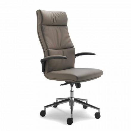 Modern scaun Edda executiv în piele, made in Italy