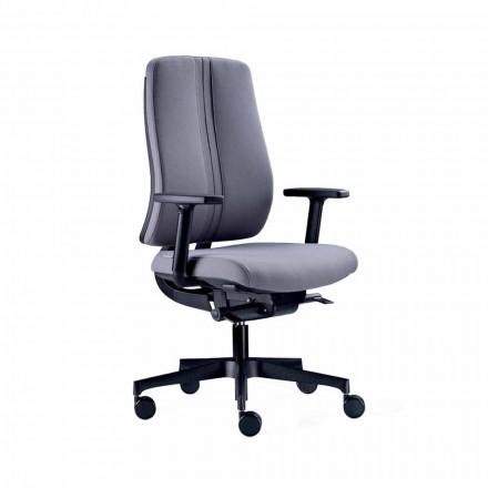 Scaun de birou rotativ modern ergonomic din țesătură neagră ignifugă - Menaleo