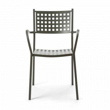 Scaunul în aer liber, din metal vopsit, fabricat în Italia, 8 bucăți - Lina