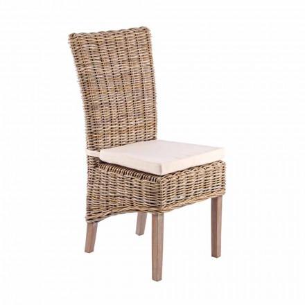 Scaun din lemn de grădină cu pernă de design pentru exterior - taffi