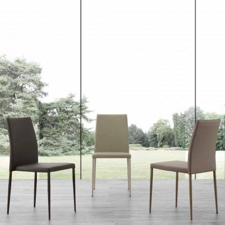 Scaun metalic acoperit în piele ecologică Caserta, design modern