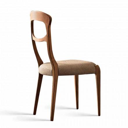 Scaun din lemn masiv de nuc și scaun tapitat, Gemma
