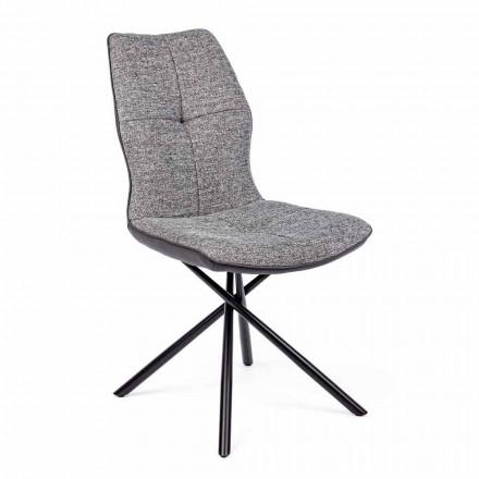 Scaun modern acoperit în poliester și piele naturală 4 piese Homemotion - Plero
