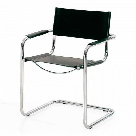 Scaun de sala de ședințe din piele neagră și metal - Cirillo