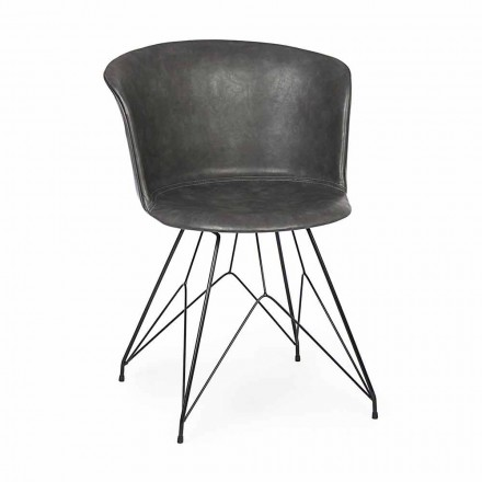 Scaun de sufragerie din piele și oțel 2 piese Homemotion - Katya
