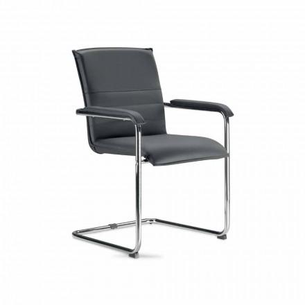 Scaun de sală de conferințe sau sală de conferințe din piele ecologică cu negru și metal - Oberon