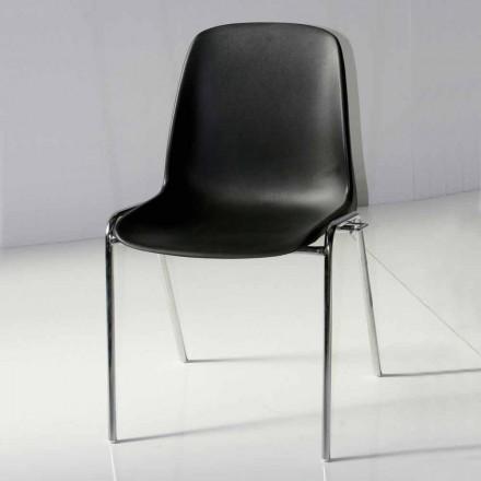 Scaun pentru sala de conferințe sau sala modernă de conferințe din metal și ABS negru - Zetica