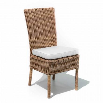 Scaun de masă în aer liber, din țesătură și țesătură sintetică din rattan, 2 bucăți - Yves