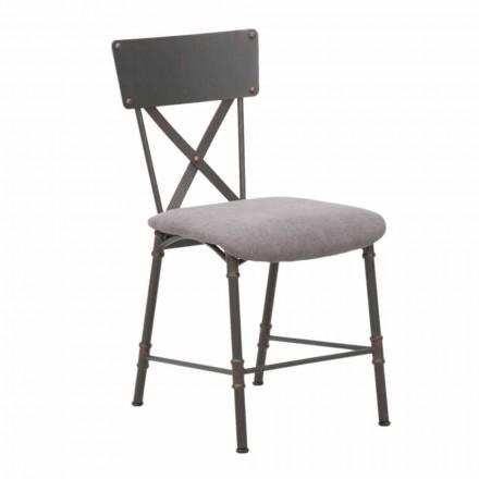 Scaun de luat masa în design industrial în MDF și metal - Elodie