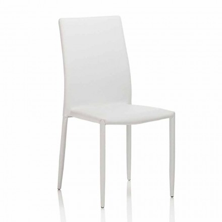 Scaun de sufragerie din piele cu structură metalică, 4 bucăți - Giola