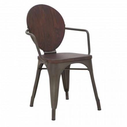 Scaun cu design industrial Scaun din lemn și bază de fier, 2 bucăți - Delia
